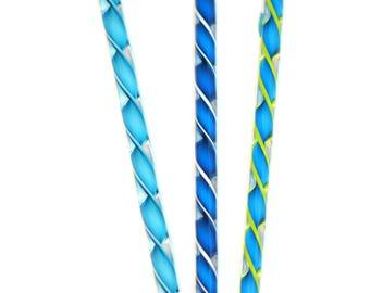 Handblown Art Glass  Ribbon  Icicles Aqua Mix