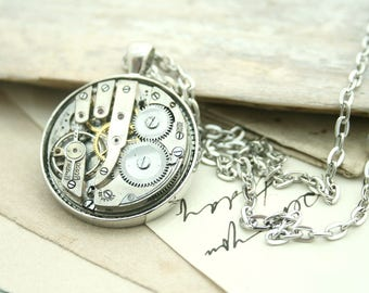 Steampunk Watch Necklace Long Pendant Necklace Steampunk Unisex Jewellery Christmas Gifts for Geeks Unisex Necklaces