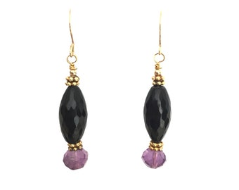 Black Earrings, Amethyst earrings, black onyx earrings, Bridesmaid Gift, Dangle earrings, Natural stone, Gifts for Her, Wedding Gift