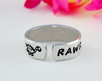 RAWR Means I Love You In Dinosaur, Hand Stamped Aluminum Cuff Ring, Mother Daughters Sisters Best Friends BFF Personalized Gift