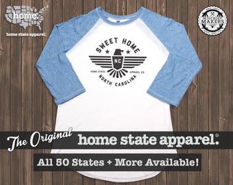 Sweet Home Raglan: Light Blue on White Baseball Raglan Shirt