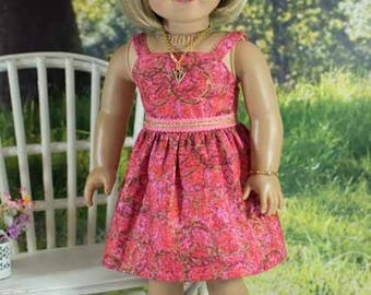 SUNDRESS Dress in Coral Pink with Belt JEWELRY and SANDALS Option for American Girl or 18 inch Doll
