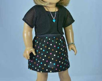 American Girl or 18 Inch SKIRT in Black with Polka Dots and TANK Shirt Top in Black Knit and Lacy Black JACKET and Jewelry Set