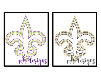 Quick stitch Fleur de Lis embroidery design, 4x4 and 5x7, Vintage stitch fleur de lis, Louisiana embroidery file, Bean stitch fleur de lis