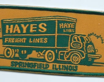 Hayes Freight Lines Springfield IL truck driver patch 3 X 5-3/4