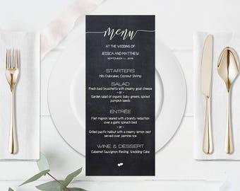 Chalkboard Wedding Menu Template, Wedding Menu Printable, Calligraphy Wedding Menu, Wedding Menu Template, Kraft Dinner Menu, DIY You Print