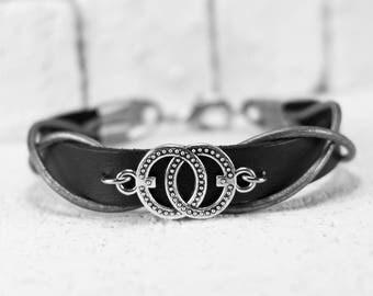 Men Bracelet - Men Leather Bracelet - Men infinity Bracelet - Men Jewelry - Men Gift - Boyfriend Gift - Husband Gift - Present For Men