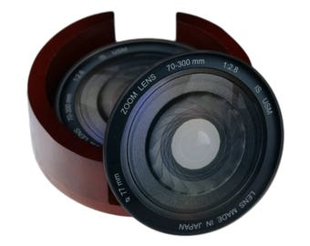 Camera Lens Iris Images Glass Coaster Set - Caddy Included- 4 Piece  Coaster Set -  Wood Box Caddy Included