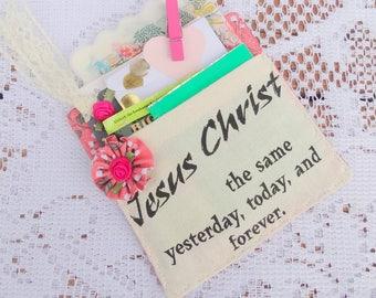 Jesus Christ is Always the Same Pocket Coaster, Mug Rug, Tea Gifts, Shabby, Tea Time, Decorative, Free USA Shipping