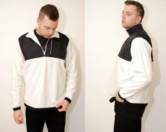 vintage NIKE FLEECE (L) white black 90s fleece colorblock color block large men logo embroidered sportswear streetwear air michael jordan