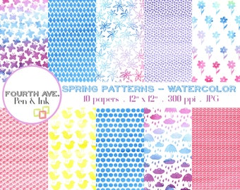 Spring Digital Paper, Watercolor Digital Paper, Spring Patterns Digital Paper, Spring, Watercolor, Digital Scrapbook, Digital Paper Pack