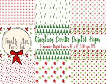 Christmas Doodle Digital Paper, Christmas Digital Paper, Holiday Digital Paper, Doodle, Hand Drawn, Seamless, Digital Background