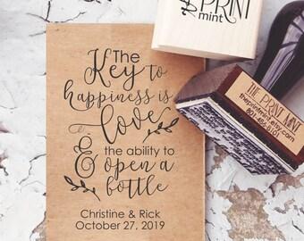 Key Wedding Favors Tag Rubber Stamp, Love and An Open Bottle, Rustic Wedding Favors, Vintage Keys Stamp, Key Bottle Opener Tags 10320