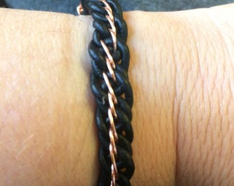 Woven Leather and Copper Bracelet