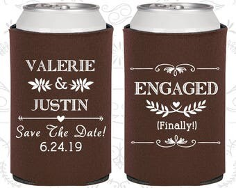 Engagement Party, Custom Wedding Favors, Save the Date Wedding, Engagement Favors, Rehearsal Dinner, Personalized Can Coolers (C482)