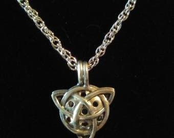 Celtic Trinity knot pendant on a rhodium chain
