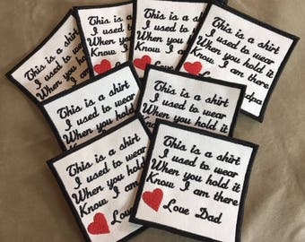 Set of 8 Memory Pillow Patches - IRON ON - 4 Inch Square , Memory Patches,This is a shirt I used to wear, In Memory Of, Memory Patch