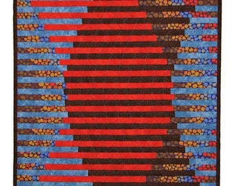 "Modern Quilted Wall Hanging, Interleave Art Quilt, Red Brown Blue Wall Quilt, Abstract Fiber Art  Wall Hanging, 17""x17"", Quiltsy Handmade"