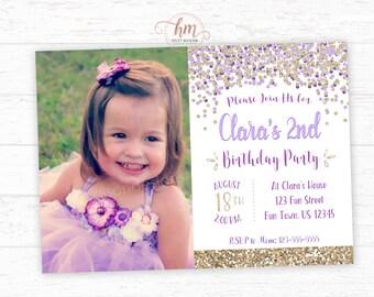 Confetti Birthday Invitation, Purple and Gold Birthday Invitation, Confetti Party, Purple Party, Princess Invitation, PRINTABLE FILE