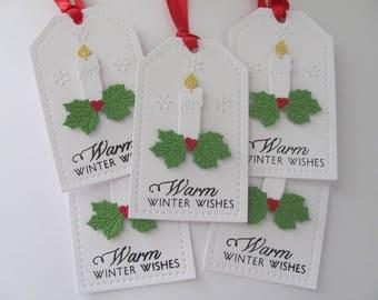 Christmas Candle Gift Tags, Christmas Tags, Warm Winter Wishes Gift Tags, Christmas Hang Tags, Holiday Gift Tags, Candle Gift Tags, Candles