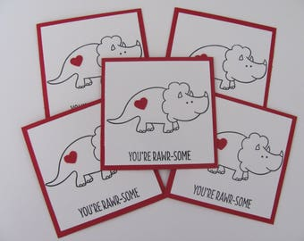 Dinosaur Valentine's Day Card, Kids Valentine Cards, Classroom Valentine's Day Cards, Kids Classroom Cards, Mini  Dinosaur Cards, Dinosaur