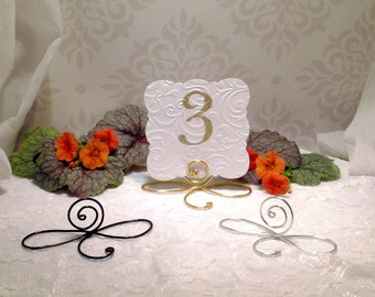 19 Large Wire infinity Bow table number holders, black, gold and silver table number holders