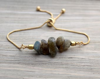 Adjustable Slider Bracelet - Labradorite Bracelet - Adjustable Bracelet - Gemstone Bracelet - Gold Slider Bracelet - Stacking Bracelet -