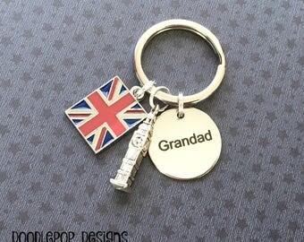 Grandad gift - London keyring - Grandad keyring - Father's Day gift - Gift for Grandad - Big Ben keyring - Union Jack keyring - Etsy UK