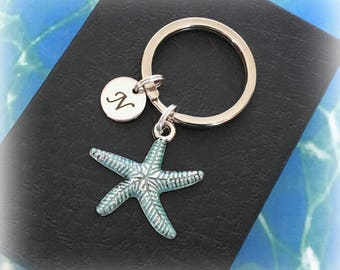 Starfish keyring - Personalised keychain - Initial starfish keychain - Diving gift - Aqua starfish charm keyring - Stocking filler - UK