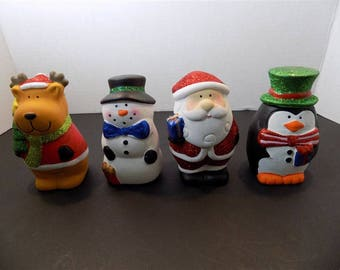 NEW Christmas Ceramic Glitter Santa Moose Reindeer Snowman Penguin  Holiday Gift