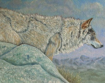 Cold dawn painted with oil, wolf, oiled wolf, North American wolf, wildlife art, naturalist painting with wolf,  wolf portrait, gift idea