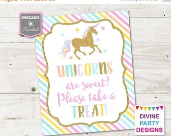 SALE INSTANT DOWNLOAD Printable Unicorn 8x10 Sweets and Treats Party Sign / Unicorn Collection / Item #3508