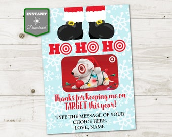 INSTANT DOWNLOAD Printable Christmas 5x7 Thanks for Keeping Me on Target Gift Card Holder / Christmas Shop / Item #3069