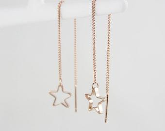 Rose Gold Star threader earrings earrings G12