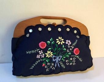 Vintage Embroidered Bermuda Bag / Top Handle / Preppy / 1980's / Boho / Retro / Navy Blue