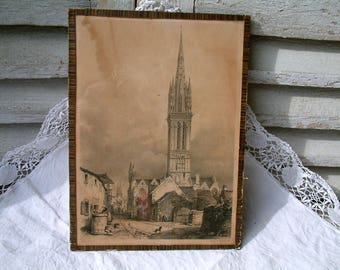 Antique french lithograph engraving depicting 18th century Nantes. Tea stained paper. St. Nicholas Basilica. Thatched roofs. Village scene