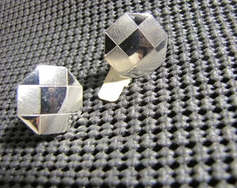 Vintage Octagon Sterling Silver Front Cuff links unused old store stock, no box,  by Foster