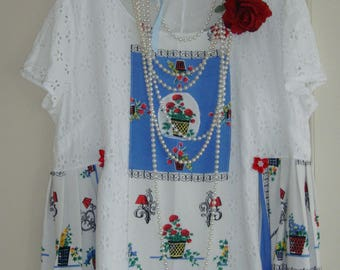 Cute Baby Doll Empire Waist Vintage White Cotton Lace Floral Blue Red Pleated Top