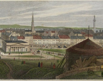 1830 Edinburgh, Part Of New Town, From Ramsey Gardens By TH Shepherd Color Engraving - Jones & Co Publishers - Free Shipping