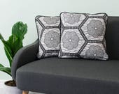 African print pillow 2 set - African pillow cover  -  Afrocentric cushion - African cushion - decorative pillow - Black white hexagon