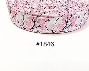 "3 or 5 yard 1"" Cherry Blossom Flower on Stripped Grosgrain Ribbon Craft Supply"
