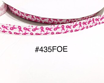 "3 or 5 yard - 5/8"" Breast Cancer Pink Ribbon awareness on white Fold Over Elastic Headband Hair Accessories"