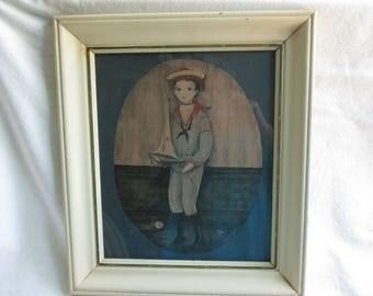 Cute Sailor Boy Vintage Art by Carol Blanchard , Signed and Framed in an Original 1970's Vintage Frame.