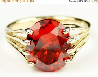 On Sale, 30%Off, Created Padparadscha Sapphire, 10KY Gold Ring, R280