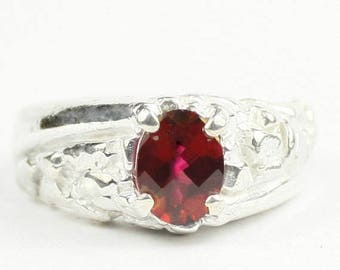 On Sale, 30% Off, Crimson Fire Topaz, 925 Sterling Silver Men's Ring, SR368