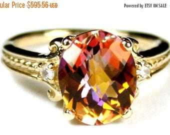 On Sale, 30% Off, Twilight Fire Topaz, 14KY Gold Ring, R136