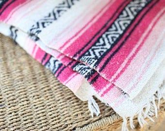vintage striped pink, black & white mexican fringe blanket