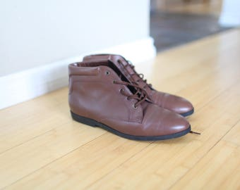 vintage brown leather oxfords ankle boots lace up womens 10