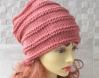 Slouchy Hat Woman , Knitted Slouch, Blush Pink Winter Hipster Beanie, Fall Winter Accessories