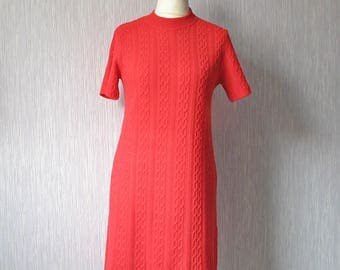 Vintage knit dress sweater, Poppy Red Medium M Large L, 80s Women Fashion